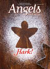 A cookie cutter angel is surrounded by powdered sugar on the cover of the November/December 2016 edition of Angels on Earth magazine.