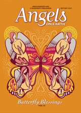 An artist's rendering of a butterfly with angels appearing in its wings for the cover of the Sept/Oct 2017 issue of Angels on Earth magazine
