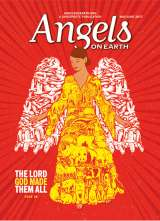 An angel whose wings and garment are covered in wild animals adorns the May-June 2017 edition of Angels on Earth magazine