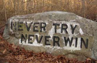Never Try, Never Win--inscription on one of the inspiring Babson Boulders of Massachusetts