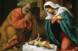 The Nativity painting by Lorenzo Lotto