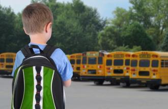 little boy on the first day of school