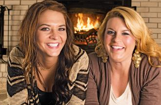 Jenna (right) and pal Shantel brighten up the coldest Wisconsin winter together.