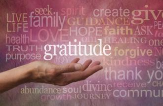 """illustration of a hand holding the word """"gratitude"""""""