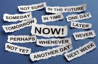 A photograph of words depicting excuses for procrastination