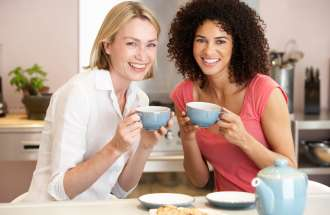 Two friends enjoying a cup of tea
