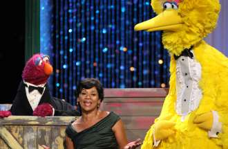 Actress Sonia Manzano, seen here with two of her Sesame Street pals, is leaving the show after nearly 45 years.