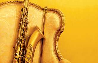 A heavenly saxophone in a yellow velvet chair