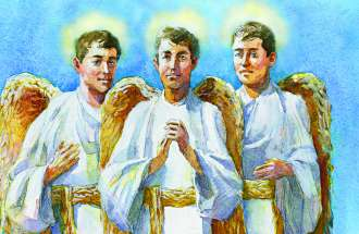 Three guardian angels with gold wings in matching white robes