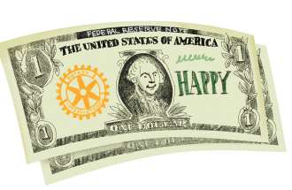 An artist's rendering of a stack of very happy dollar bills