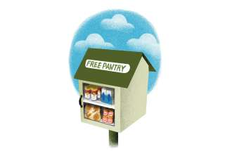 An artist's rendering of a little food pantry