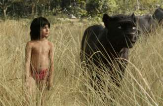 "Mowgli and Bagheera in Disney's ""The Jungle Book"""