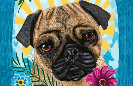 An artist's rendering of an angelic pug