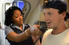 highschool student talking into the microphone on an airplane