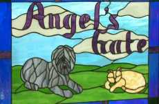 Angel's Gate animal sanctuary stained glass window
