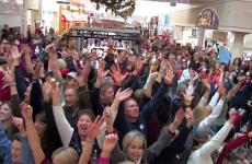 A Christmas flash mob performs in a Utah mall.