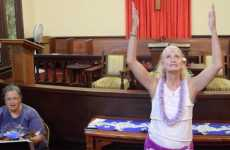 A Christian hula dance is performed at Wai'oli Hui'ia Church in Hanalei, Kaua'i, Hawai'i.