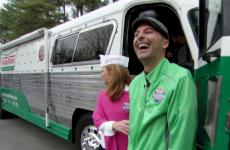 Chris Rosati enjoys a laugh outside his Krispy Kreme bus.