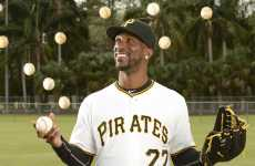 Pittsburgh Pirates center-fielder Andrew McCutchen juggles baseballs