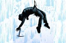 An artist's rendering of Peter Panagore, unconscious and suspended by a rope from a wall of ice.