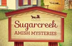 A sign that reads Sugarcreek Amish Mysteries, a new Amish fiction series
