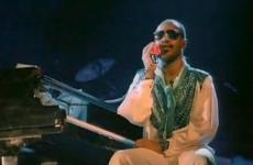 "Stevie Wonder in a shot from his video for ""I Just Called to Say I Love You"""