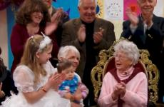 Teacher celebrates 100th birthday with students.