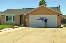 Citizens of Solano county set up a welcome sign for veteran's new home.